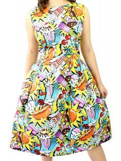 Hemet Women's Popart Pleated Dress