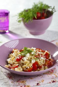 Orzo with feta, tomatoes and fresh dill.