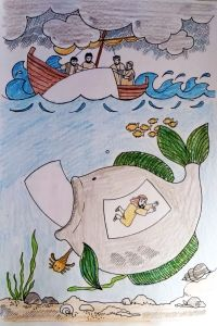 "Arbeitskreis ""Zeit für Kids"" knutselwerkje Jona Bible craft Jonah"