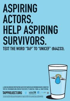 Aspiring Actors, Help Aspiring Survivors - Unicef Tap Project text campaign