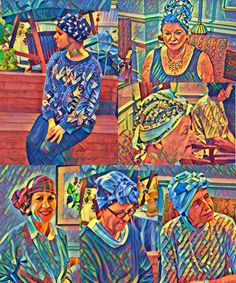 6 images from 'Headscarves, Headwraps & More' book using Acrylic app.