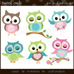 SWEET CLIP ART Owls   Digital clip art pack in high by urbanwillow, $5.00