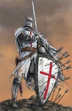 Medieval Knight, Medieval Armor, Medieval Fantasy, Fantasy Warrior, Fantasy Art, Templar Knight Tattoo, Fuchs Illustration, Crusader Knight, Christian Warrior