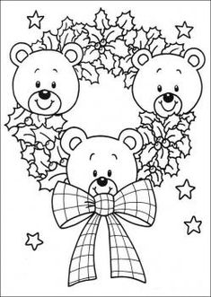 Desenhos de ursinhos no natal para colorir Make your world more colorful with free printable coloring pages from italks. Our free coloring pages for adults and kids. Teddy Bear Coloring Pages, Cute Coloring Pages, Free Coloring, Coloring Books, Colouring, Kids Coloring, Christmas Colors, Christmas Art, Christmas Wreaths