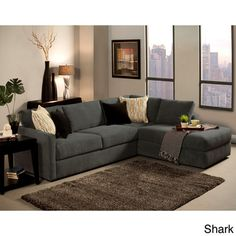 Furniture Of America Faith Deluxe Contemporary Microfiber Fabric  Upholstered 2 Piece Sectional (Peacock), Blue (ABS)