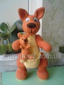 Kangaroo , found on… Crochet Teddy, Crochet Patterns Amigurumi, Crochet Dolls, Crochet Russe, Crochet Stitches Patterns, Stuffed Animal Patterns, Crochet Animals, Pet Toys, Crochet Projects