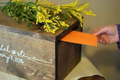 Add a rustic touch to your wedding decor with this beautiful and unique rustic wooden card box. There are no hinges or hardware on or in this box. Simply slide out the bottom piece to retrieve your cards after the reception! This box can also be used after your wedding as decoration in your home, or a special place for your keepsakes. *** This box can be personalized in any way that you like. We can do almost any font and place any words in any location that you like. Maybe you want the…
