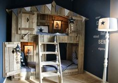 cabane lit  bois