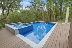 Out of ground pool and spa with limestone dropface pool coping. Modwood decking surrounds fits the space perfectly. Modwood Decking, Composite Decking, Outdoor Spa, Outdoor Decor, Pool Coping, Pool Decks, In Ground Pools, House Ideas, Space
