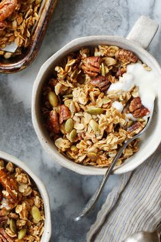 Maple-glazed pecans, coconut oil and a hint of spice bring big flavor to this crunchy, cluster-packed granola, adapted from the restaurant Jon & Vinny's in Los Angeles. (Photo: Craig Lee for The New York Times)