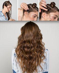 Mini Buns beach waves hair