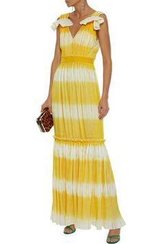 Prabal Gurung DÉgradÉ PlissÉ Crepe De Chine Gown In Yellow Prabal Gurung, Ruffle Trim, Gowns, Summer Dresses, Yellow, Fabric, Shopping, Clothes, Woman