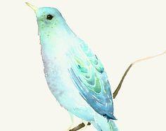Aquarell Kunstdruck Ghost Bird II von dearcatherina auf Etsy