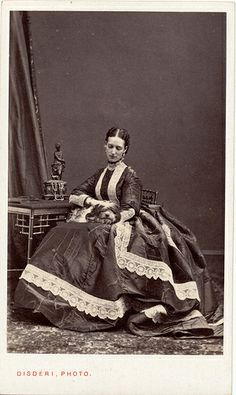 """The lady with the little dog""- The Princess of Wales by Disdéri A charming piece of a session about the Princess Alexandra of Wales taken in December, 1866 by André A.E. Disdéri"