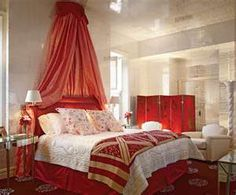 red and silver bedroom, shiny wallpaper and ceiling