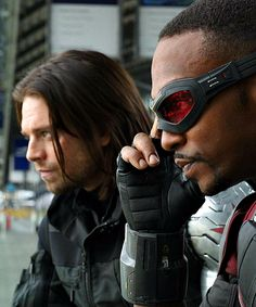 "stuckysource:  ""  Bucky Barnes & Sam Wilson in Captain America: Civil War  """