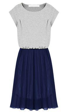Grey Short Sleeve Contrast Navy Chiffon Hem Beach Dress