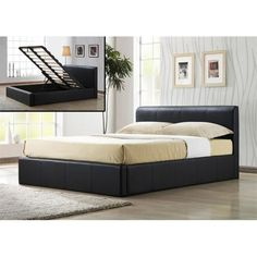 Frankfurt (Ottoman Storage Bed) Faux Leather Bed (Size Options) by Time Living Bed Frame With Drawers, Full Bed Frame, Bed Frame With Storage, Ottoman Storage Bed, King Storage Bed, Ottoman Bed, Storage Beds, Smart Storage, Modern King Bed Frame