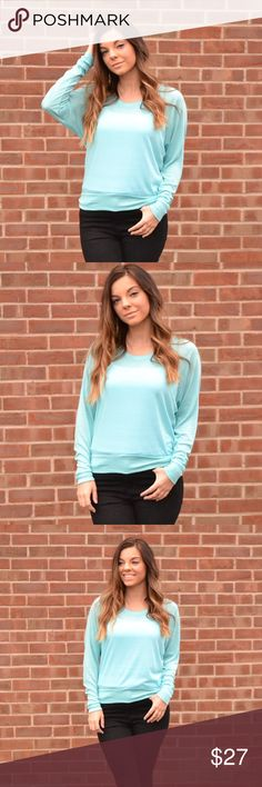 Long Sleeve Top - Blue A great addition to any fall wardrobe. Super soft top. Loose fit. No trades. Kyoot Klothing Tops