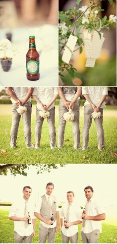 groomsmen- I must have the beer.and.flower picturres!