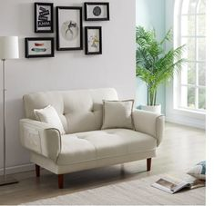 Couch, including 2 pillows, convert to a fully functioning futon sleeper, it is an excellent option for your home, office, and guest room Founded on a solid and manufactured wood frame with metal mechanisms, clean-lined silhouette with an angled backrest, tight square arms, and wood legs, enveloped in tailored linen upholstery, The backrest has 5 angles for adjusting Arms are also can be adjusted #sofa #couch #daybed