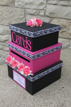 Custom Wedding Card Box 3 Tier Card Holder Square by aSignofJoy