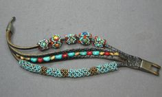 Tutorial for bracelet and the beaded beads - From B & B Editor's Blog. Source for leather bracelet in comments. #seed #bead #tutorial