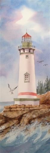 """Daily Paintworks - """"Lighthouse"""" - Original Fine Art for Sale - © Margie Whittington Watercolor Landscape, Watercolor Paintings, Lighthouse Painting, Lighthouse Pictures, One Stroke Painting, Beach Art, Pictures To Paint, Fine Art Gallery, Beautiful Paintings"""