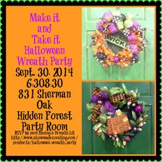 Halloween #Wreath Party in #SanAntonio by Show Me Decorating! Buy your Wreath Kit at http://www.showmedecorating.com/products/halloween-wreath-party