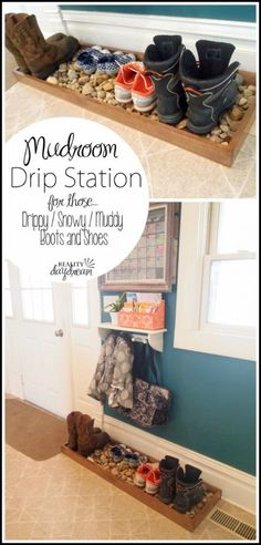 DIY Ideas for Your Entry - Mudroom Drip Station - Cool and Creative Home Decor or Entryway and Hall. Modern, Rustic and Classic Decor on a Budget. Impress House Guests and Fall in Love With These DIY Furniture and Wall Art Ideas diyjoy.com/...