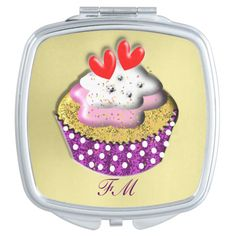 A very pretty little mirror for the ladies to slip in their handbags; in red, purple, white, and pink. Such a yummy scrumptious cupcake topped with two sweet red love hearts and sitting in a polka dot cup cake case. Don't forget to personalize it with your own monogram or name. #cake #cakes