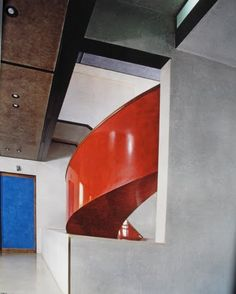 carlo scarpa. @Deidra Brocké Wallace. spiral staircase polished plaster red