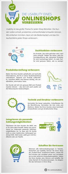 Infografik Usability des Online-Shops verbessern. CC-Lizenz (einfach auf www.tlc-communications.de verlinken) Spring Plants, Online Shops, Online Marketing, Social Media, Easy, Infographic, Shopping, Simple, Social Networks