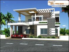 Home Design Plan With 3 Bedrooms Duplex House Design, House Front Design, Design Your Dream House, Modern House Design, Bedroom House Plans, Dream House Plans, Small House Plans, House Elevation, Building Elevation