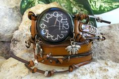 Steampunk Leather wrap watch Free style by CuckooNestArtStudio, $42.00