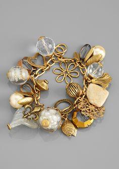 Gold and White Charm Bracelet.