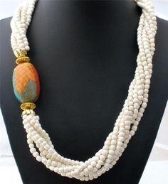 Vintage White Agate Bead Necklace Multi 7 Strand Statement Pendant | eBay