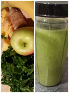 My #Green #Smoothie #Healthy #Fruit #Apple #Banana #Ginger #Organic #Kale #Mango #Honey #Yummm #noaddedsugar