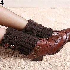 Crochet Boot Cuffs leg warmers boot socks with buttons in four colors to choose from