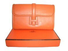 hermes orange clutch