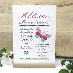 Personalised A4 Acrylic Newborn Baby Birth Details Printed Freestanding Sign with Timber Base - Gifts for New Mum and Dad Gifts For New Mums, Rough Day, Secret Santa Gifts, Baby Birth, Peace Of Mind, A4, New Baby Products, Nursery, Place Card Holders