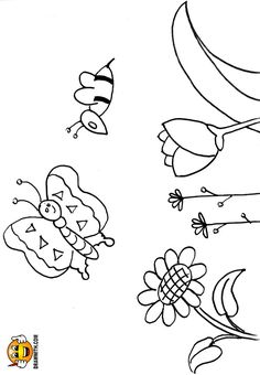 Free Butterfly Bee Flowers Coloring Pages For Kids Which Includes A Color Along Video Tutorial