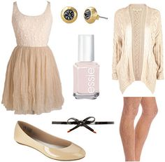 Outfit inspired by Degas Ballet Rehearsal on Stage - Ballerina-inspired dress, flats, nail polish, knit cardigan, studs, tights