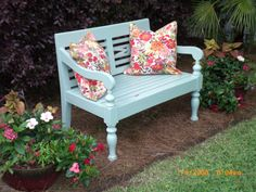 LOVE this color for a garden bench!