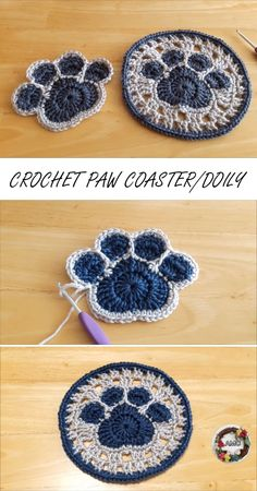 This is a fresh new, beginner friendly tutorial on how to crochet a paw coaster or doily in different sizes. Free tutorial comes with step by step video guidelines and written instructions Crochet Simple, Crochet Diy, Crochet Amigurumi, Crochet Motifs, Crochet Squares, Crochet Gifts, Crochet Doilies, Knitted Gifts, Knitting Projects