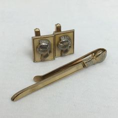 Swank Cufflinks and Tie Clip Gold Tone Medieval Knights Warriors Vintage  #Swank