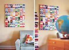 wanddekoration ideen postkarten aus aller Welt
