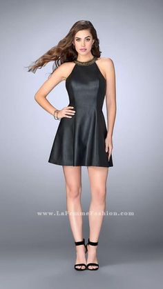 Unique vegan leather cocktail dress with heavily beaded high neck collar. Features a strappy beaded back.    Black Homecoming Dress Style 23790 | La Femme