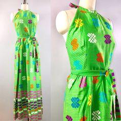 a92c60a9808 Malia 60s dress   vintage 1960s Hawaiian Green Geometric Halter Maxi Long  dress 34 bust small