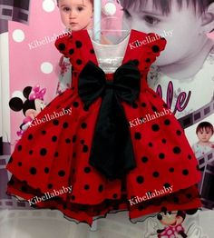Vestido infantil Minnie Vermelho/Joaninha - Tam 1 / 3 Mac S, Baby Shawer, Girl Dress Patterns, New Kids, 2nd Birthday, Mickey Mouse, Girl Outfits, Alice, Girls Dresses